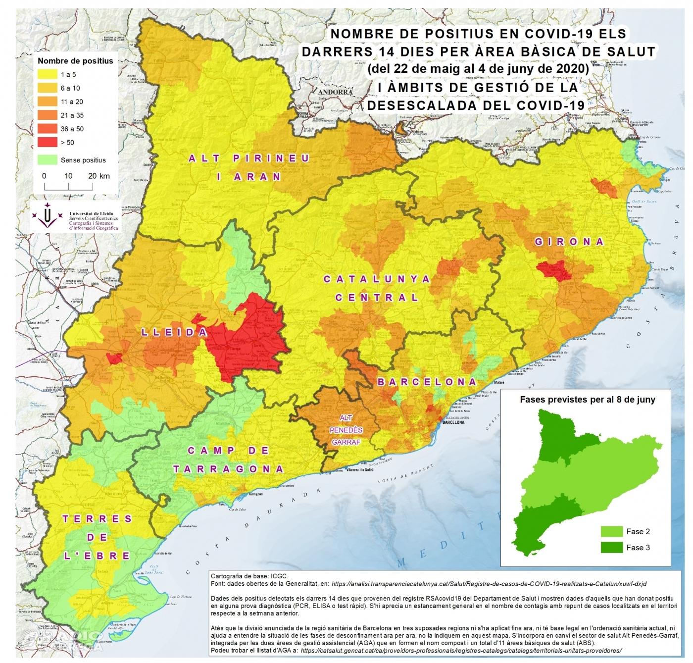 El darrer mapa del Servei Cientificotècnic de Cartografia i SIG de la Universitat de Lleida mostra que la COVID19 es resisteix a marxar