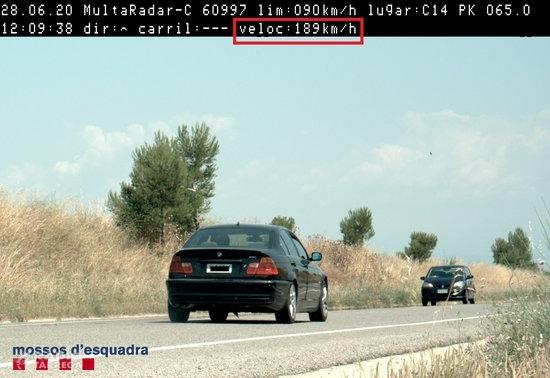 Denunciat penalment un conductor per circular a 189 km/h per la C-14, a Verdú