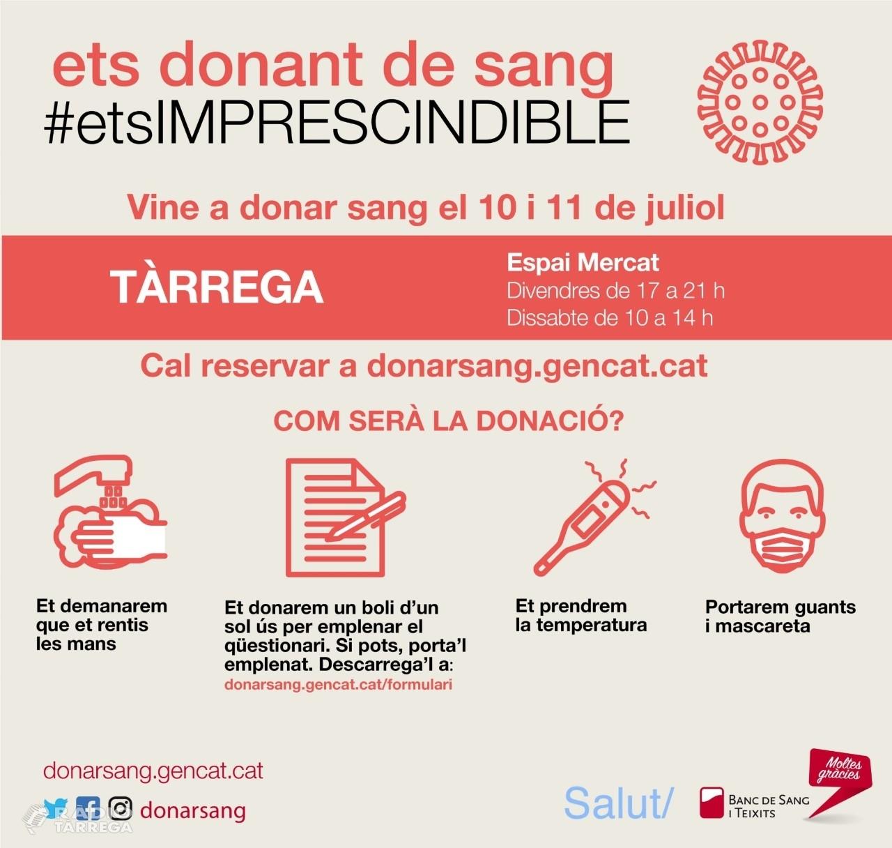 Tàrrega mostra la seva solidaritat vers la donació de sang amb una nova campanya especial els dies 10 i 11 de juliol