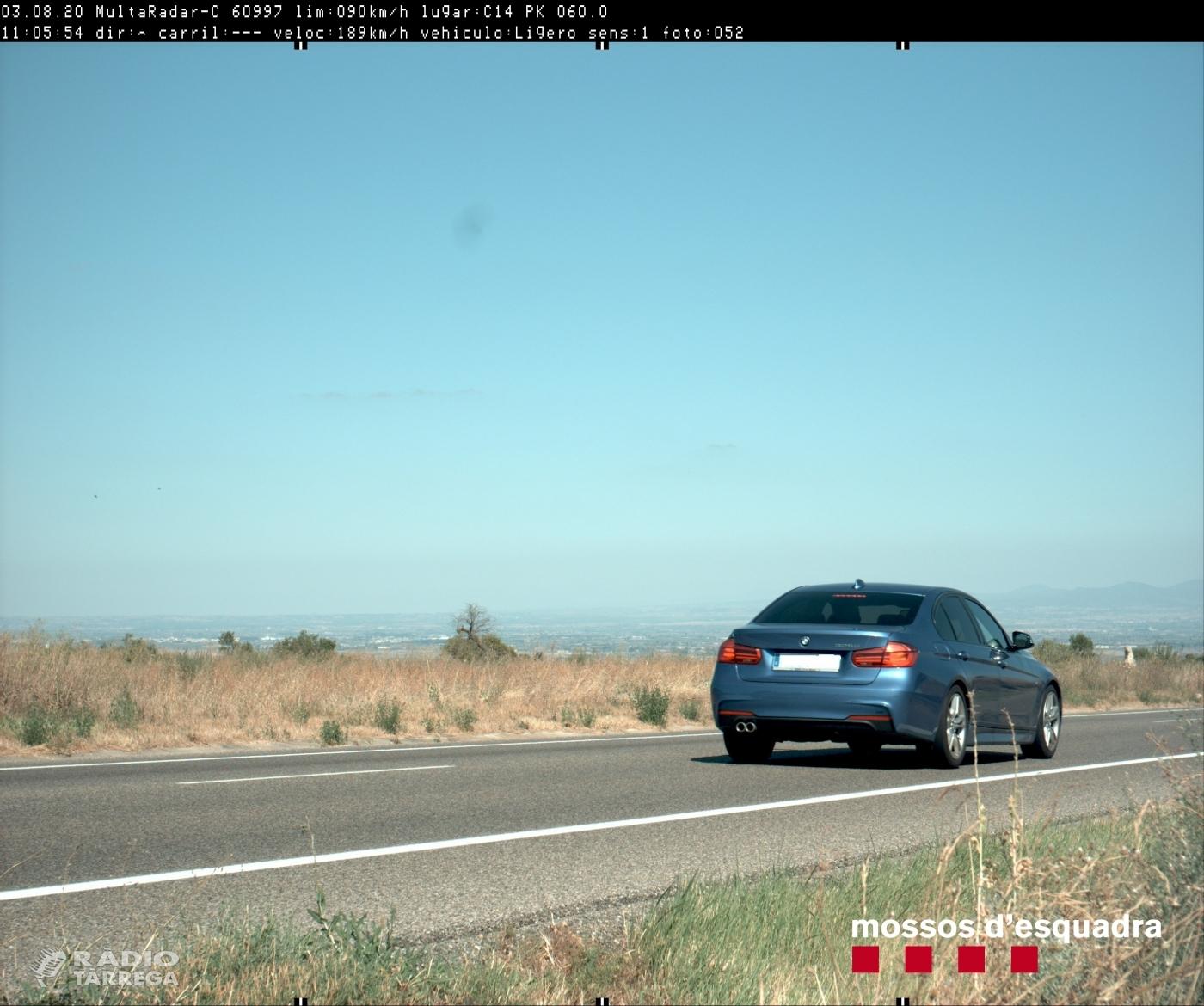 Denuncien penalment un conductor que circulava a 189 km/h per la C-14 a Ciutadilla