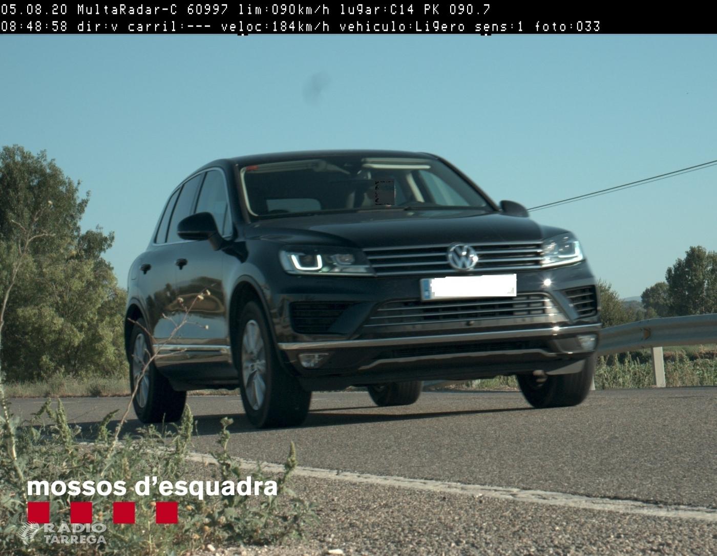 Els Mossos d'Esquadra denuncien penalment un conductor que circulava a 184 km/h per la C-14 a Agramunt
