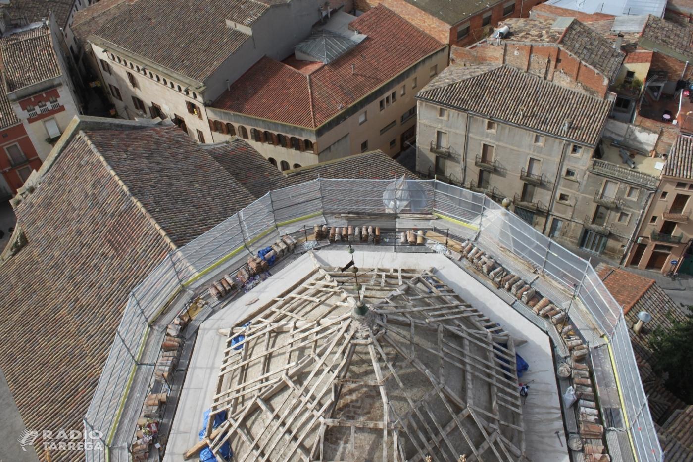 Marxen a bon ritme les obres de rehabilitació del cimbori de l'església de Santa Maria de l'Alba de Tàrrega