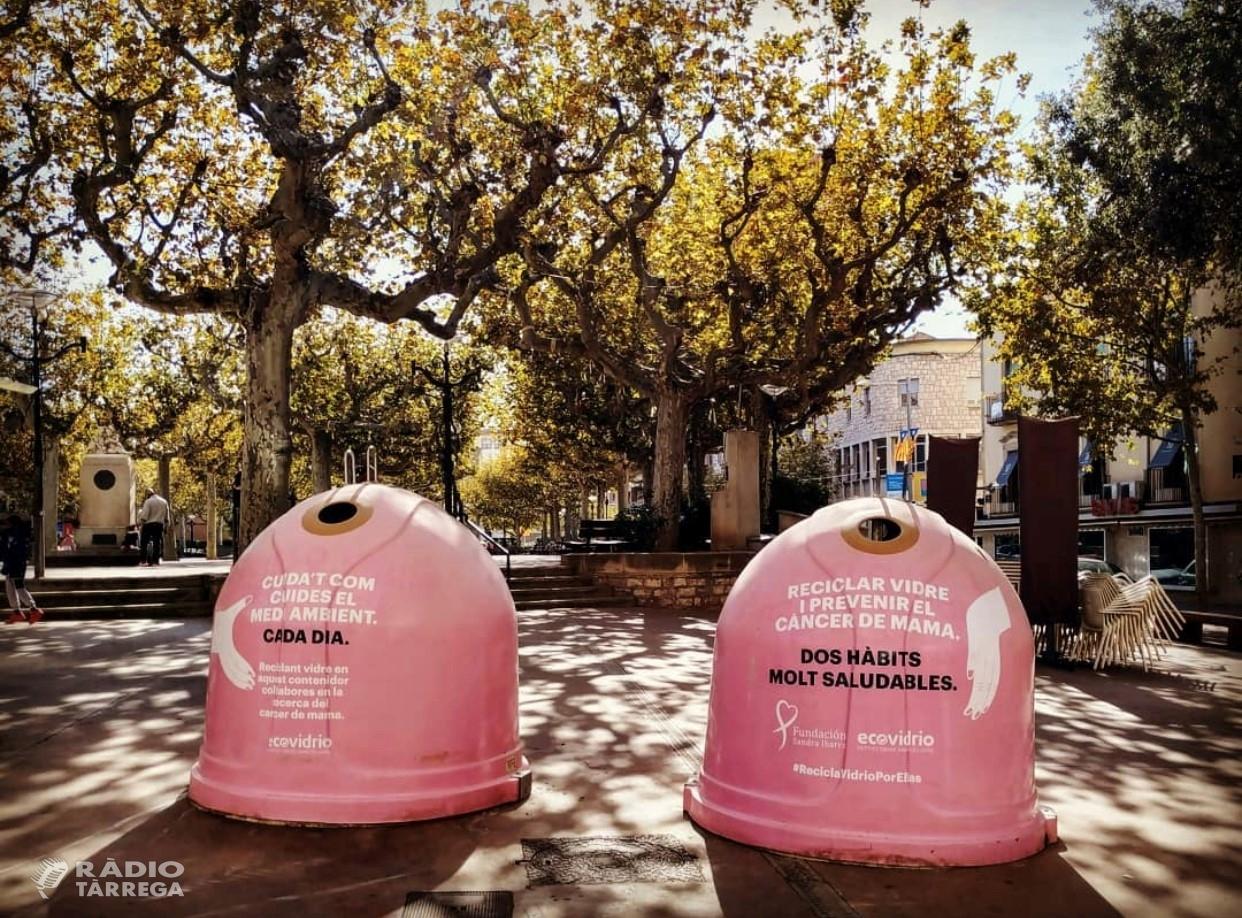 Tàrrega commemora el Dia Mundial del Càncer de Mama amb la campanya 'Recicla vidre per elles'