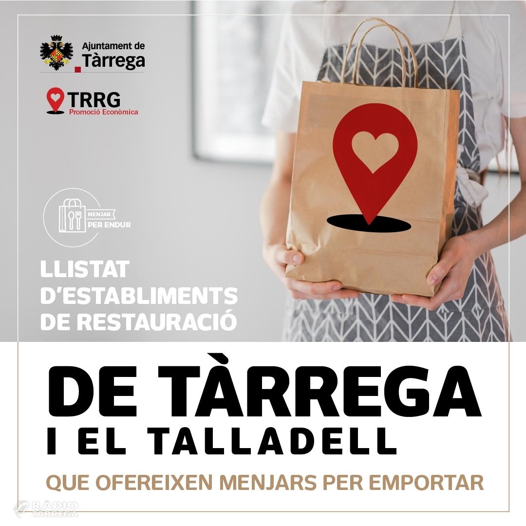 L'Ajuntament de Tàrrega llança una campanya de suport als establiments locals de restauració