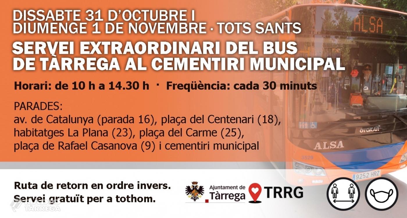 L'Ajuntament de Tàrrega amplia el servei gratuït del bus urbà de Tots Sants per facilitar visites esglaonades al cementiri