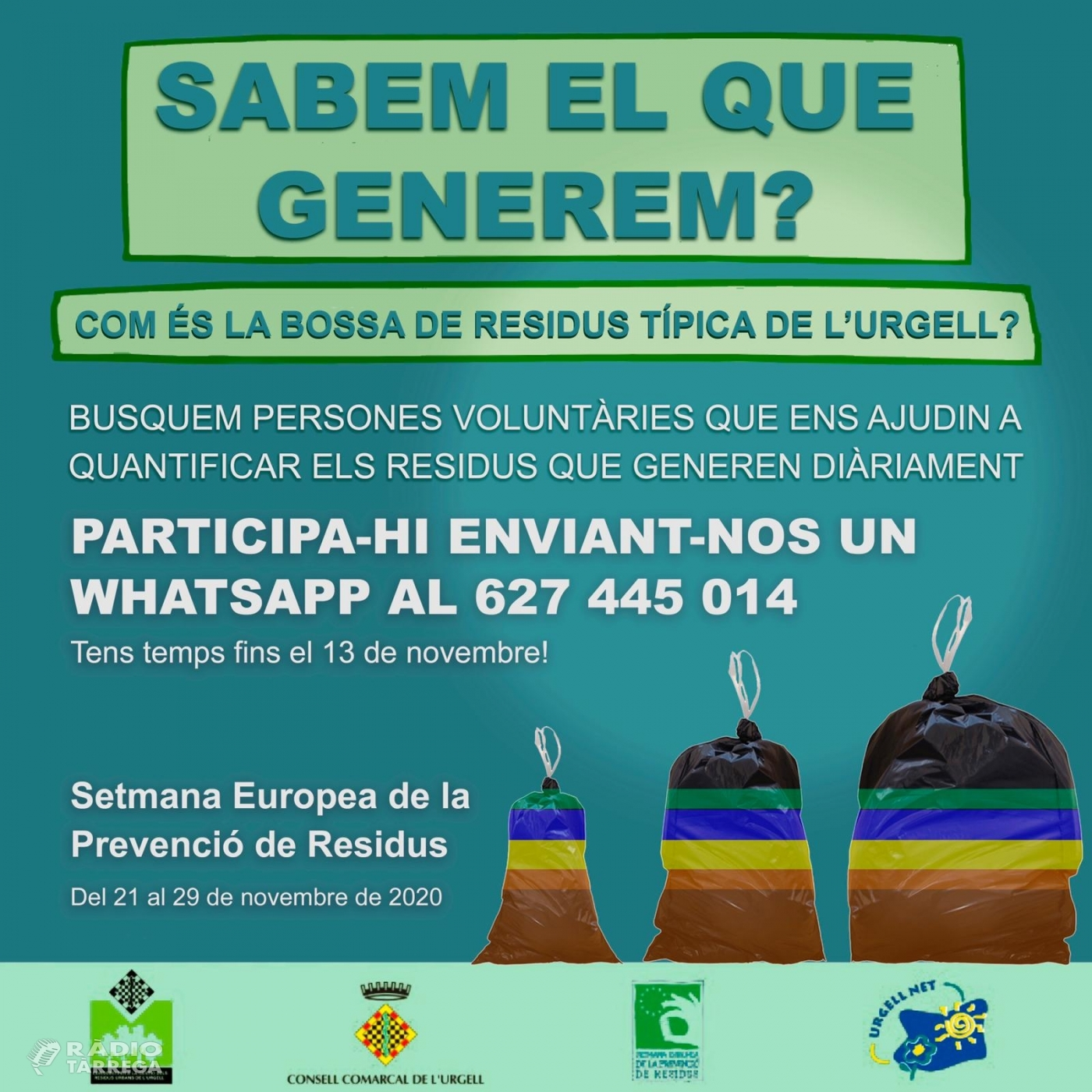 El Consell Comarcal de l'Urgell es suma un any més a la Setmana Europea de la Prevenció de Residus