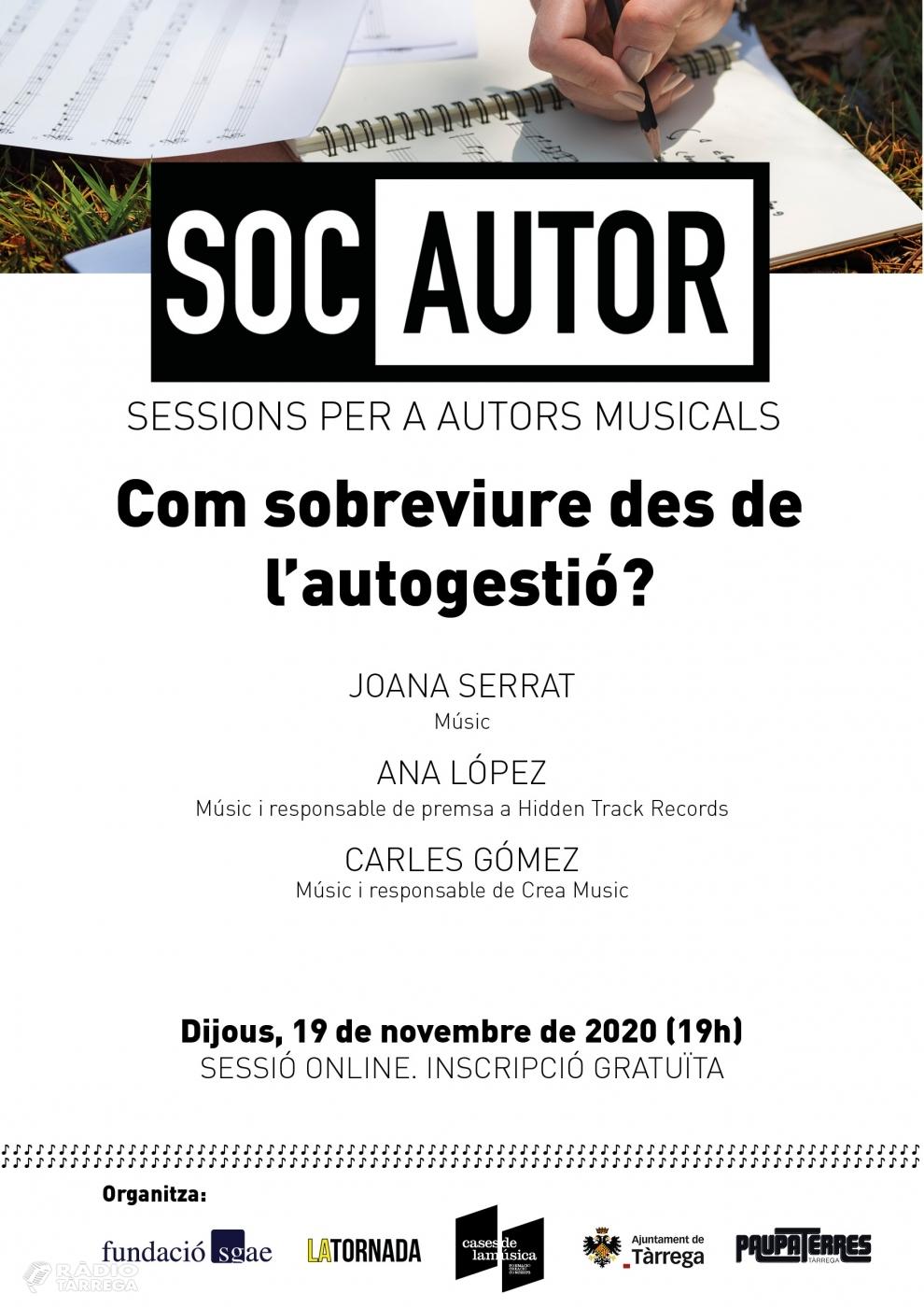 La Fundació SGAE, La Tornada i Cases de la Música proposen una sessió virtual sobre l'autogestió adreçada a músics emergents