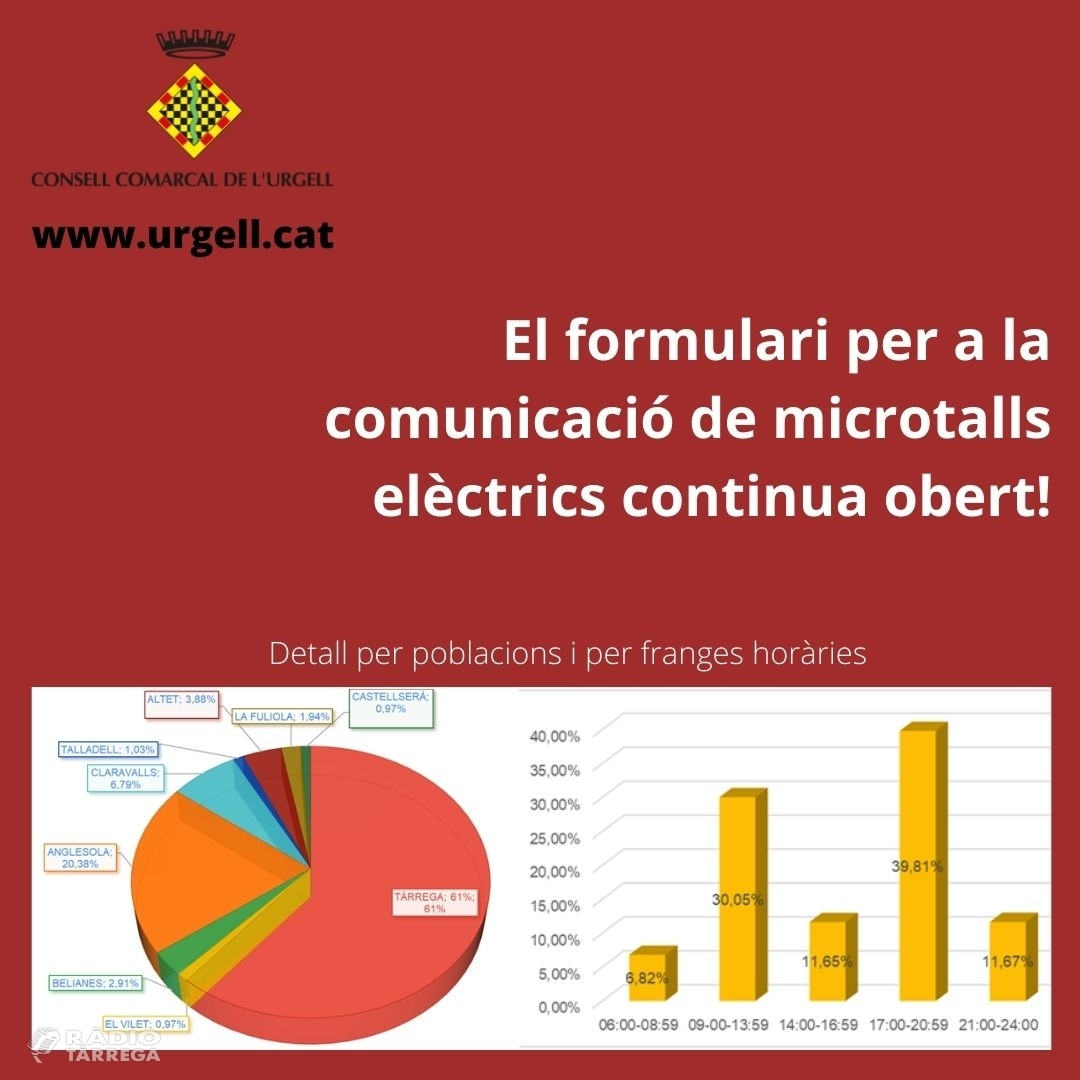 El Consell Comarcal de l'Urgell recull 104 comunicacions de microtalls en el subministrament elèctric en set dies