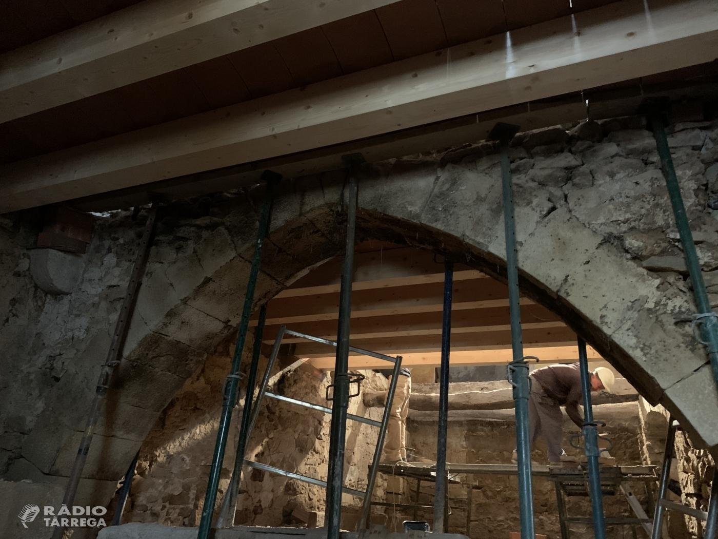 Obres de rehabilitació a l'edifici de Cal Vallverdú de Preixana