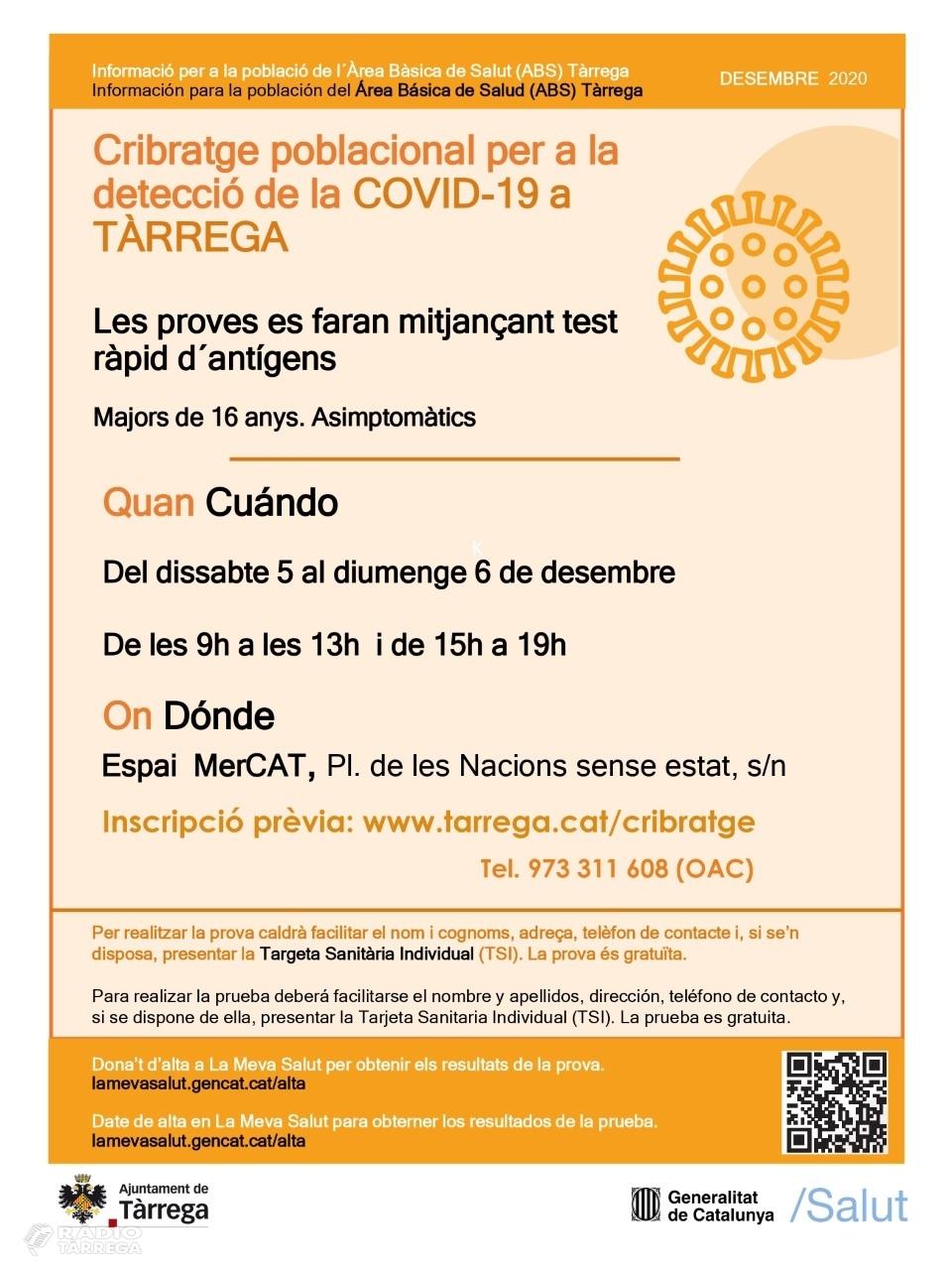 L'Ajuntament de Tàrrega habilita un formulari online per reservar torn al cribratge poblacional que es realitzarà els dies 5 i 6 de desembre