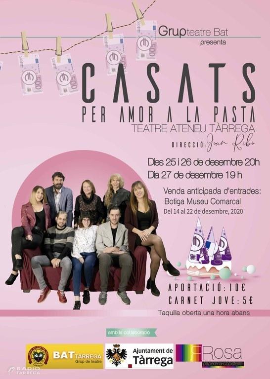 """BAT estrena avui la comèdia  """"Casats per amor a la pasta"""" al teatre Ateneu de Tàrrega"""