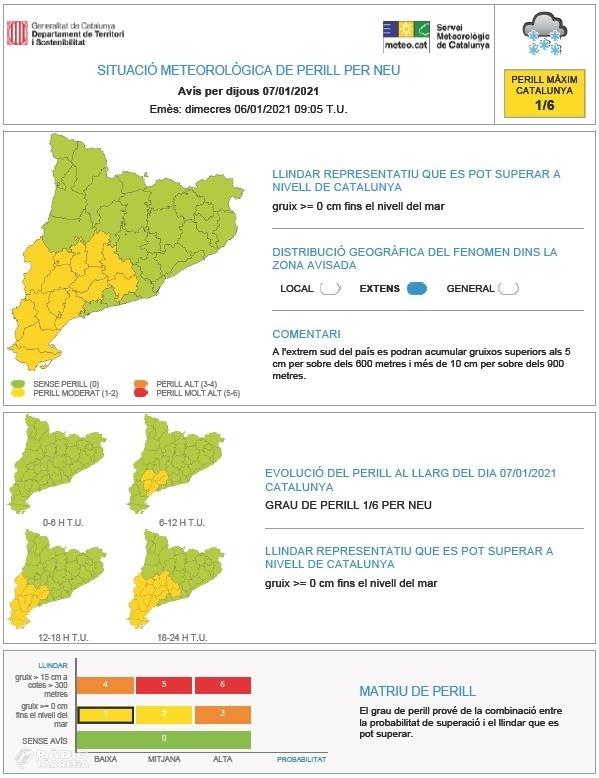 Avisos per possibles nevades a la plana de Lleida entre demà i diumenge