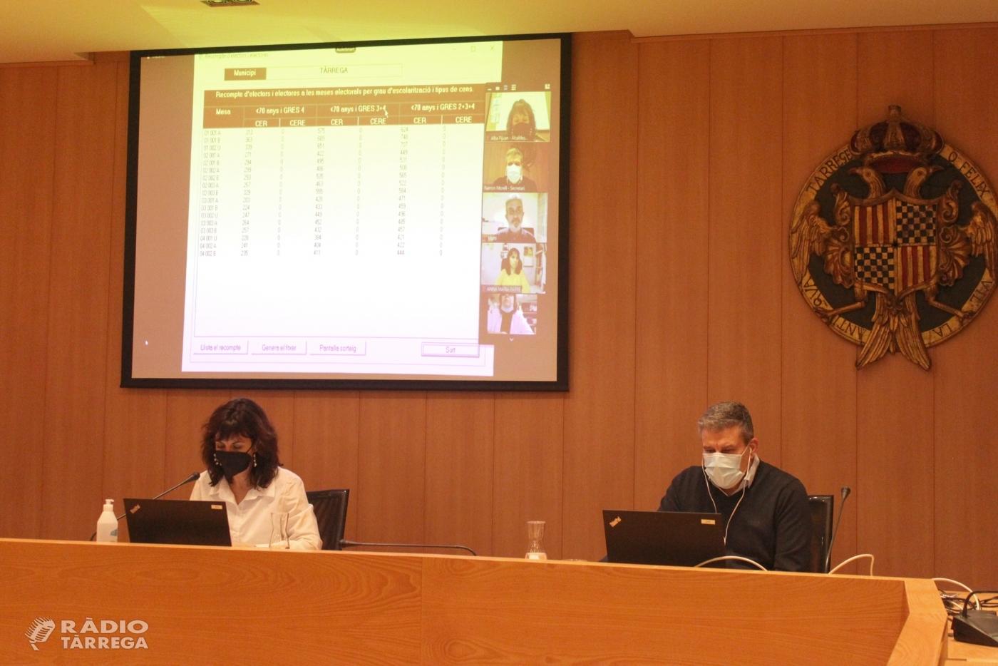 El Ple de Tàrrega designa per sorteig la composició de les meses de les Eleccions al Parlament de Catalunya del 14 de febrer