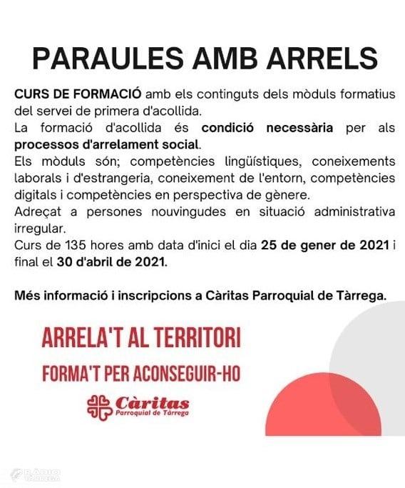 Caritas Parroquial de Tàrrega imparteix el programa 'Paraules amb Arrels'