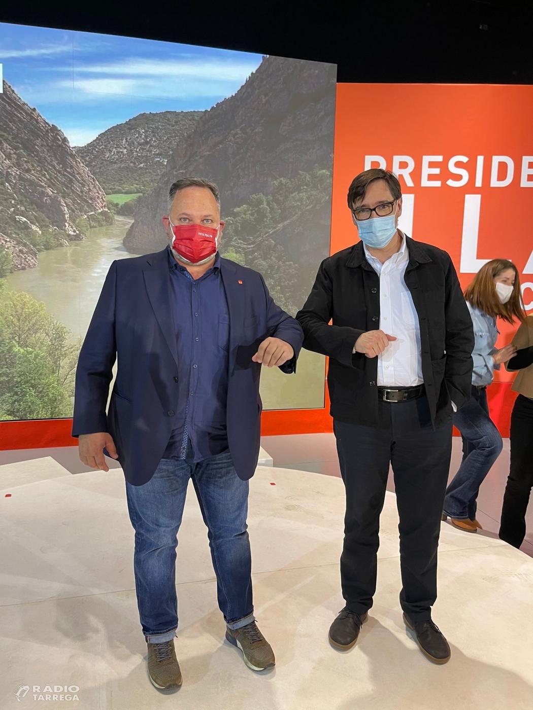 El PSC fa l'acte central de campanya a Lleida amb la presència de Salvador Illa, Òscar Ordeig, Meritxell Batet i el President del Govern, Pedro Sánchez