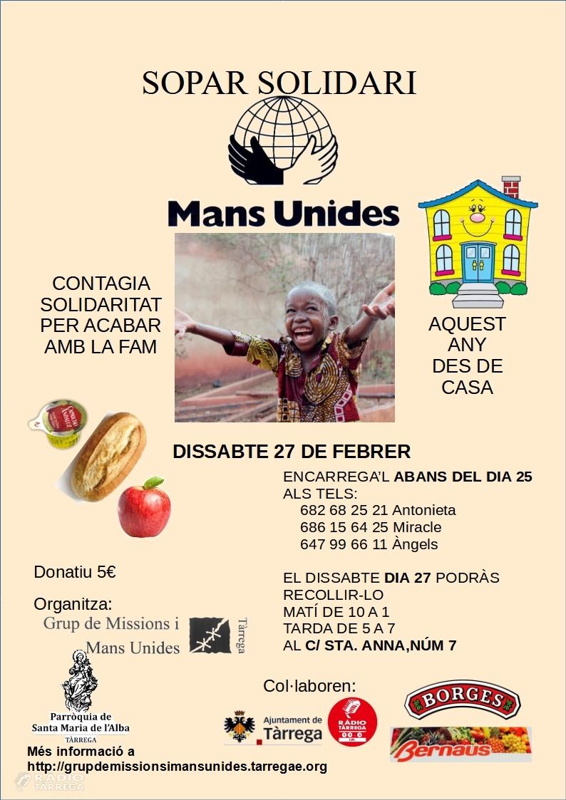 Mans Unides organitza un sopar virtual solidari el proper 27 de febrer