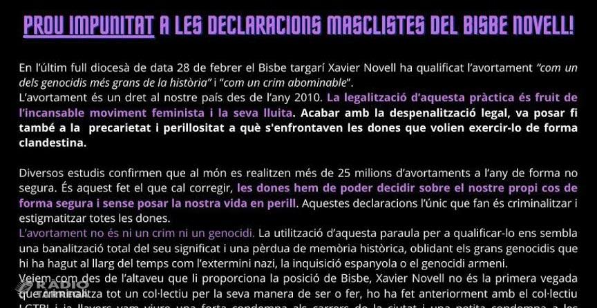 Deu entitats targarines signen un manifest en rebuig a les declaracions fetes pel Bisbe de Solsona i demanen una condemna per part de les institucions i partits