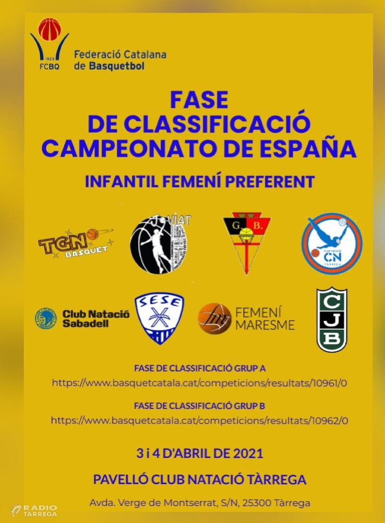 El CN Tàrrega acollirà aquest cap de setmana la Fase de Classificació del Campionat d'Espanya de Bàsquet Infantil Femení