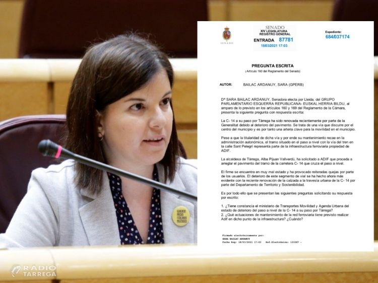 La senadora Sara Bailac demana al govern de l'Estat l'arranjament del principal pas a nivell de Tàrrega