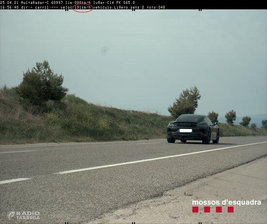 Denunciats penalment dos conductors a l'Urgell per circular a una alta velocitat per la C-14