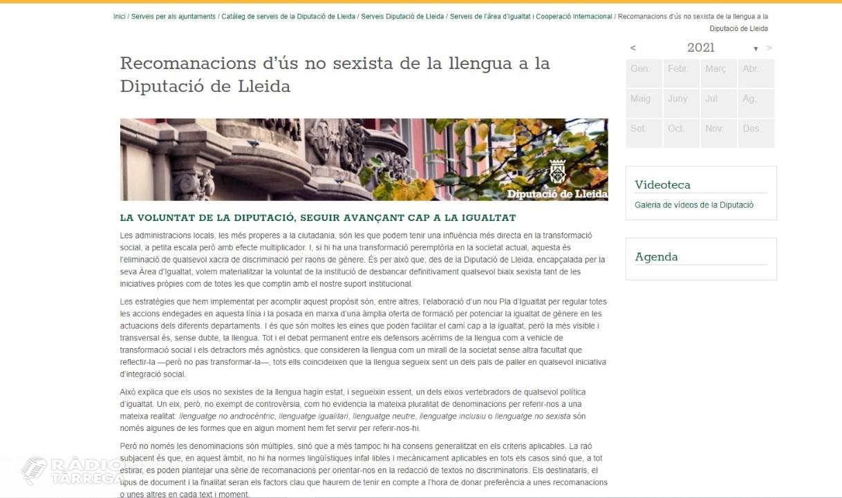 La Diputació de Lleida distribuirà a tots els ajuntaments de la demarcació una guia per a l'ús d'un llenguatge inclusiu i no sexista