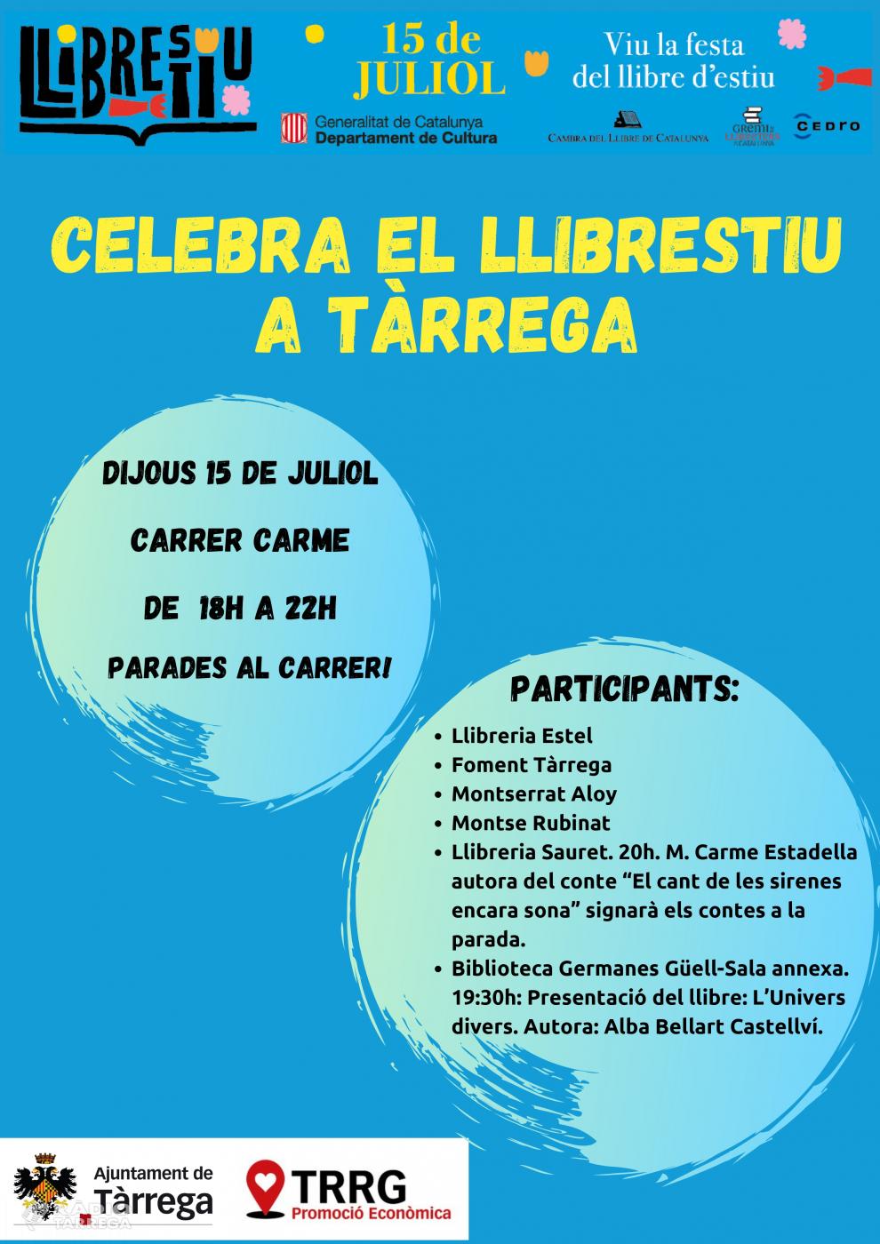 Tàrrega celebra la nova festa Llibrestiu el dijous 15 de juliol al carrer del Carme