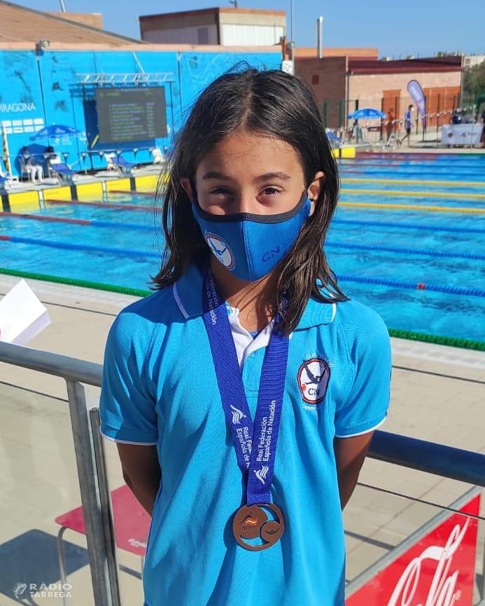 Noa Priego del Club Natació Tàrrega, bronze en els Campionats d'Espanya aleví