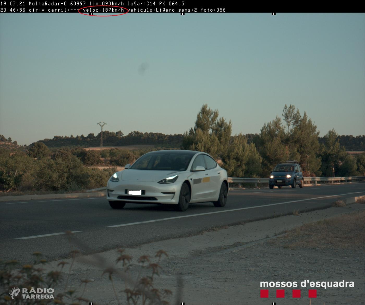 Els Mossos d'esquadra denuncien penalment un conductor per circular a 187 km/h per la C-14 a l'Urgell