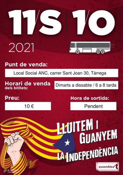 L'ANC de Tàrrega organitza autobusos a Barcelona pel dia 11 de setembre, Diada Nacional de Catalunya