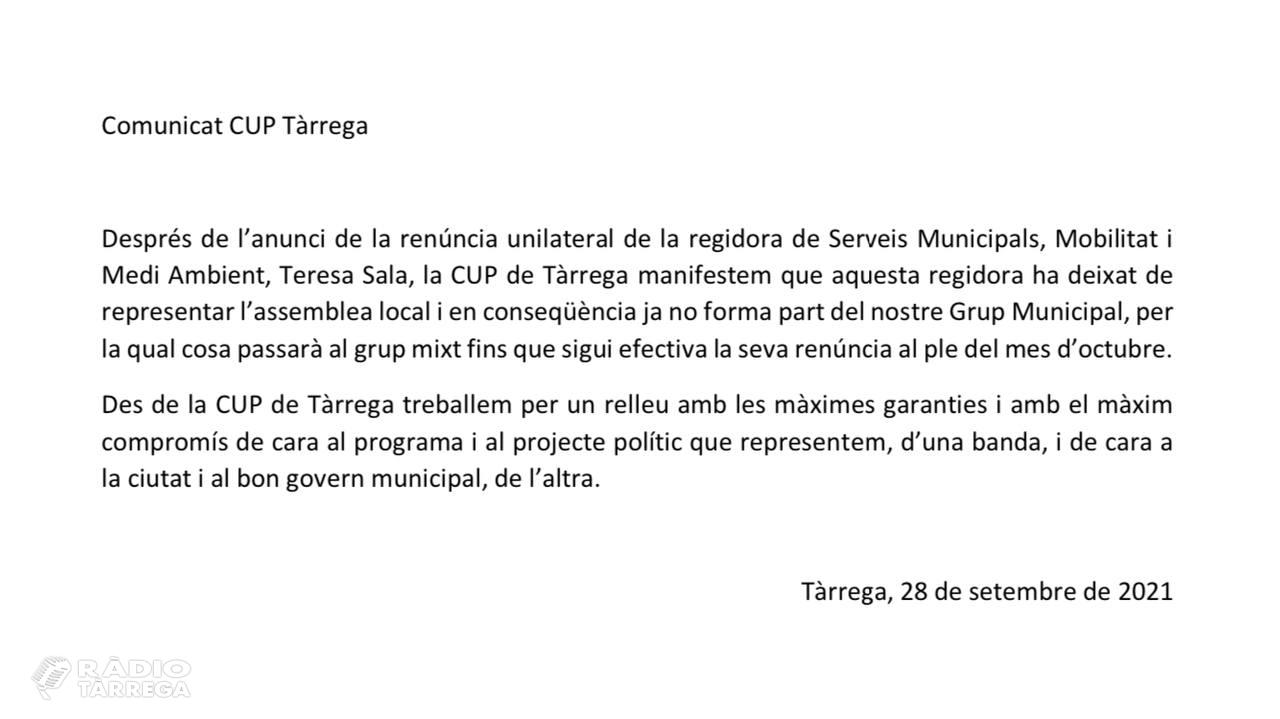 """La CUP comunica que la Regidora Teresa Sala """"ja no forma part"""" del seu Grup Municipal a l'Ajuntament de Tàrrega"""