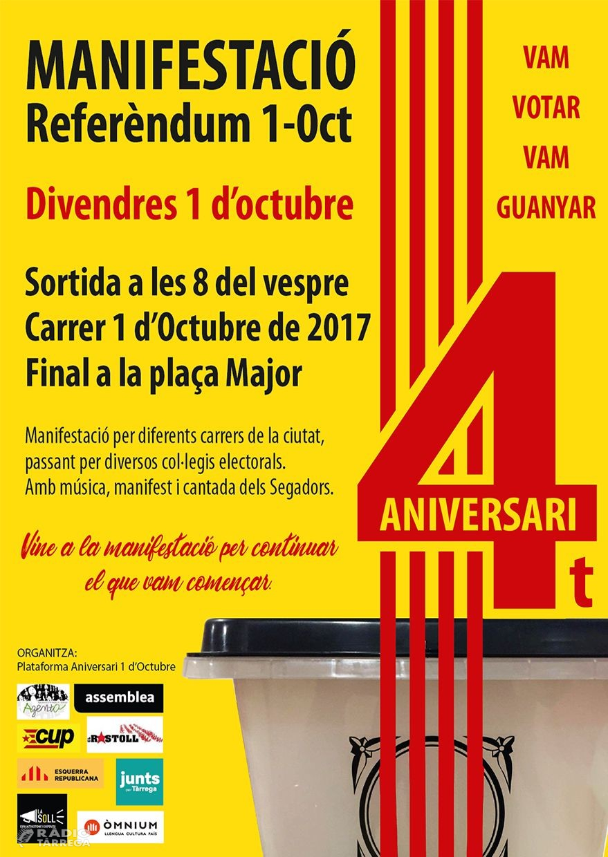 Tàrrega commemora el 4rt aniversari de l'1 d'octubre de 2017