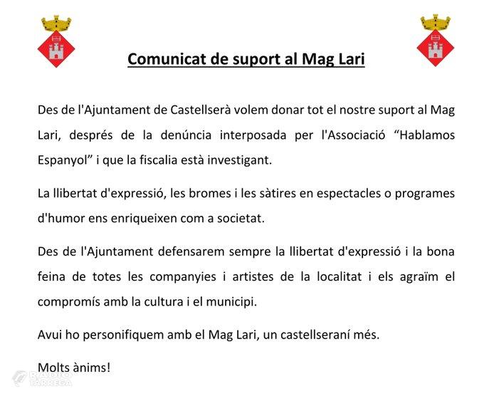 L'Ajuntament de Castellserà dona suport al Mag Lari després de la investigació iniciada per la fiscalia