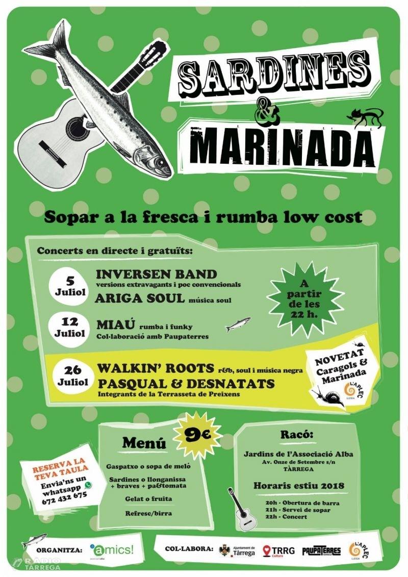 El festival Sardines & Marinada omplirà un any més els jardins de l'associació Alba el 5, 12 i 26 de juliol.