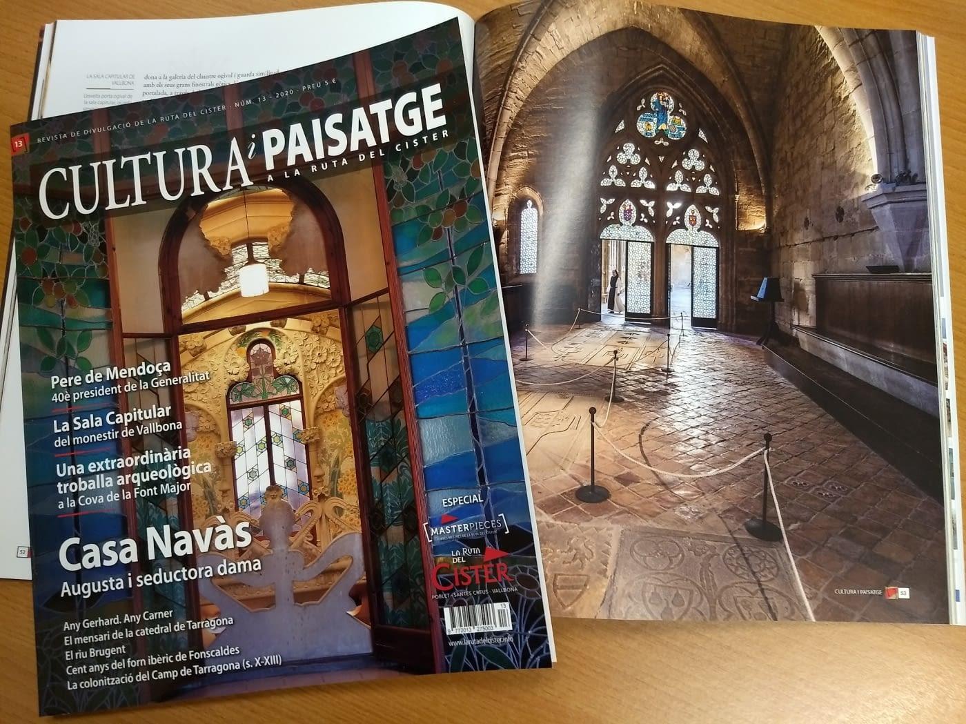 Reportatge a la revista Cultura i Paisatge a La Ruta del Cister