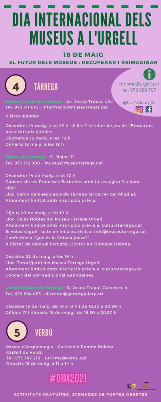 L'Urgell celebra el Dia Internacional dels Museus , 18 de maig- TÀRREGA I VERDÚ