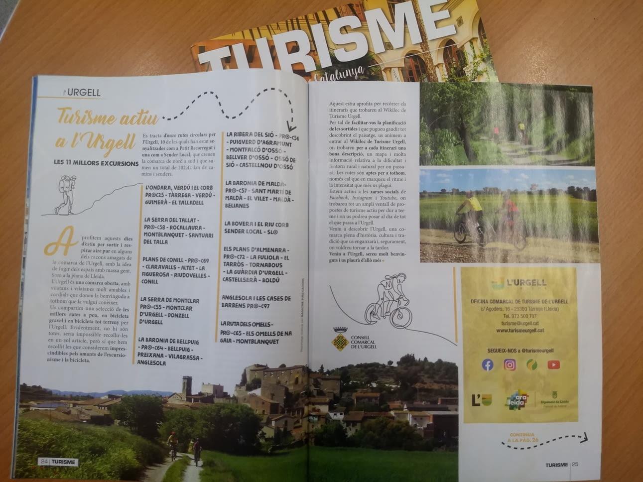 Reportatge de l'Urgell , a la revista Turisme Catalunya de juliol