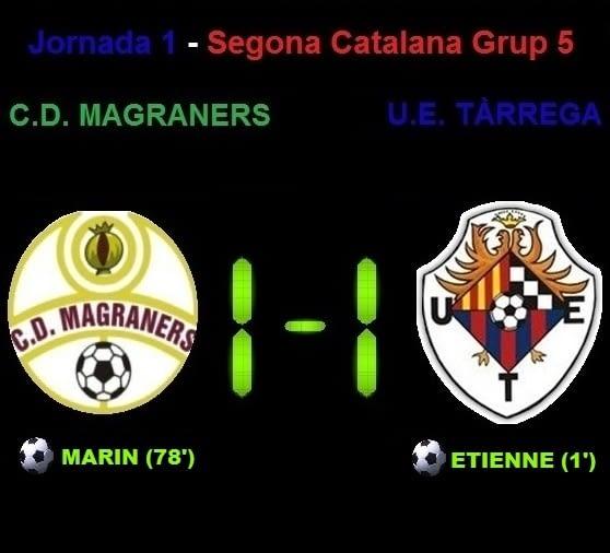 Crònica - Jornada 1 Segona Catalana: CD Magraners 1-1 UE Tàrrega