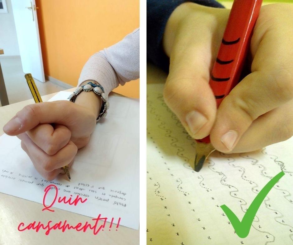 Insisteix: li serà més fàcil si agafa bé el llapis