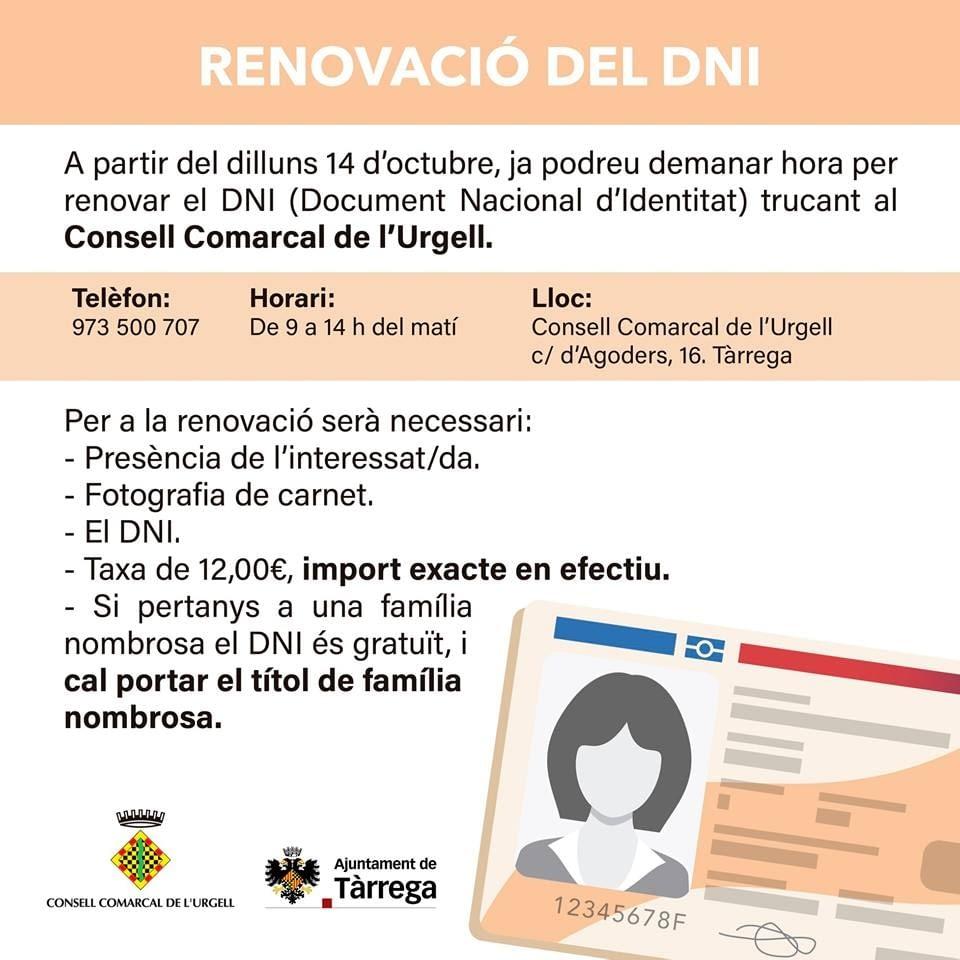 RENOVACIÓ DEL DNI AL CONSELL COMARCAL DE L'URGELL