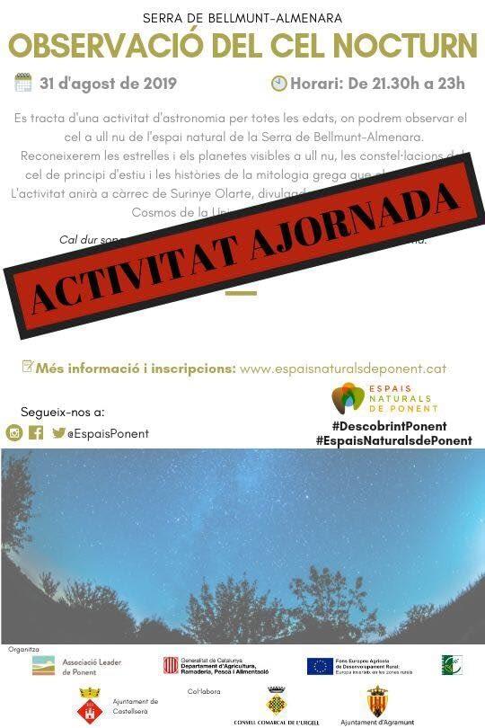 OBSERVACIÓ DEL CEL NOCTURN, ACTIVITAT AJORNADA