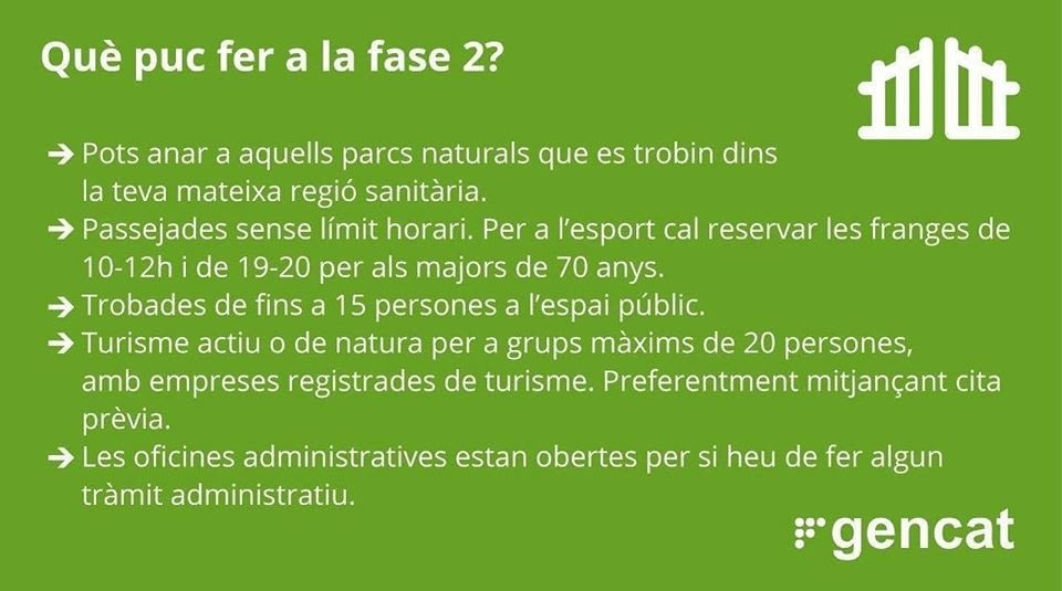 Recorda que dilluns que ve, 15 de juny, la regió sanitària de Lleida, continuará en fase 2.