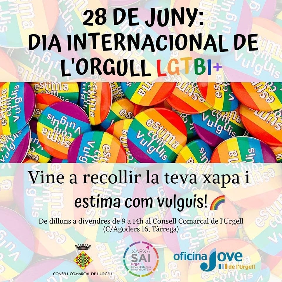 28 de juny: Dia Internacional de l'Orgull LGTBI+ El SAI (Servei d'Atenció Integral LGTBI+ de l'Urgell)