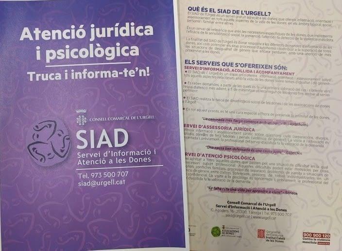 L'any 2019 el SIAD de l'Urgell ha atès 161 consultes d'assessorament a dones, ajuntaments i entitats de la comarca.