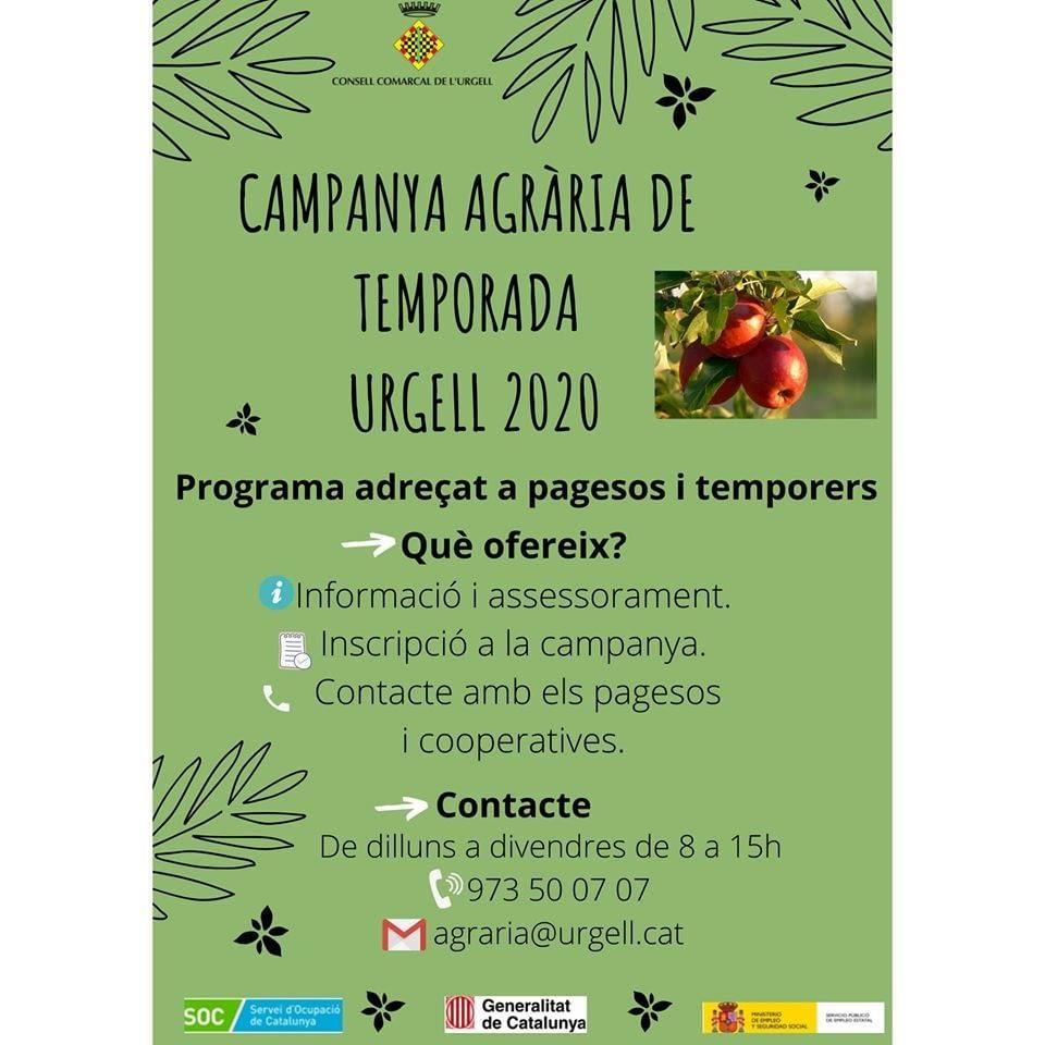 """Campanya Agrària de Temporada """"Urgell 2020"""""""