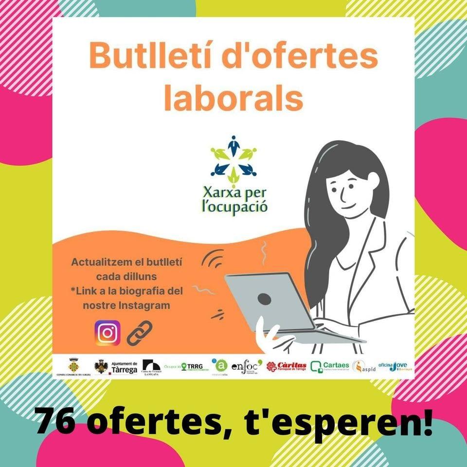 Butlletí d'ofertes de feina de la Xarxa per l'Ocupació de l'Urgell