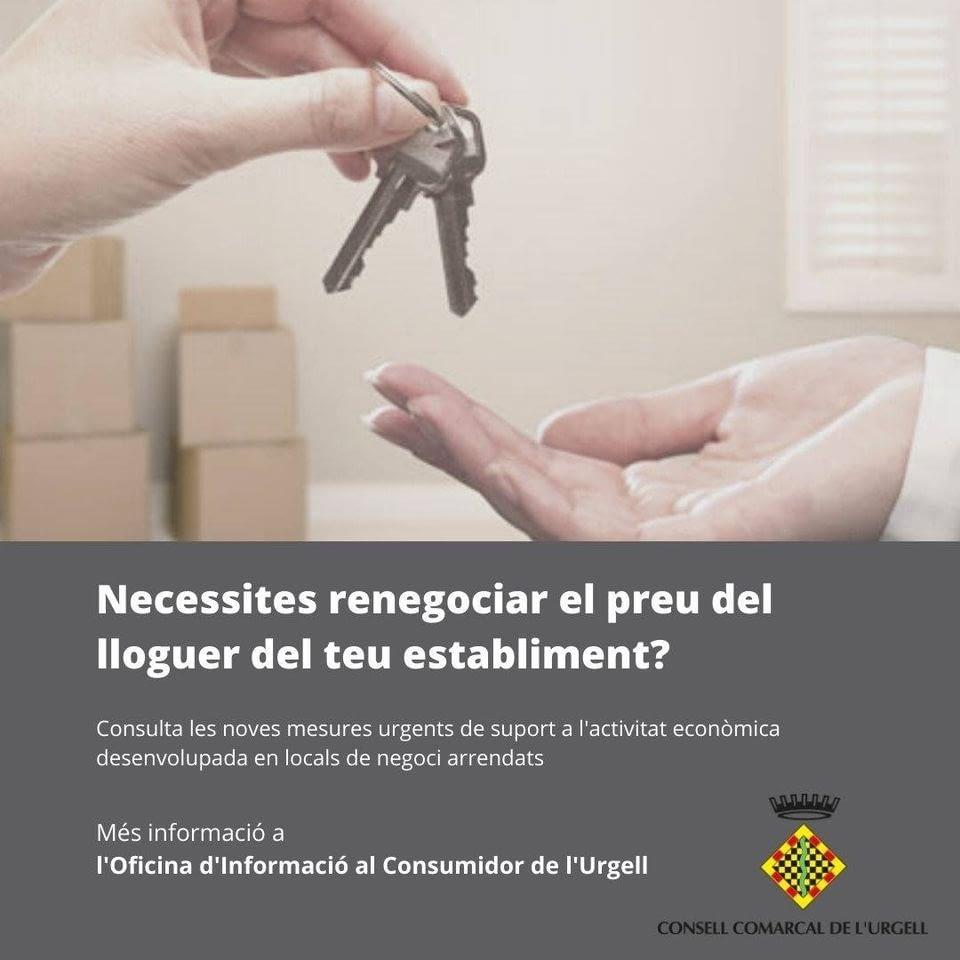 El Govern de la Generalitat faculta els arrendataris a negociar una rebaixa del lloguer