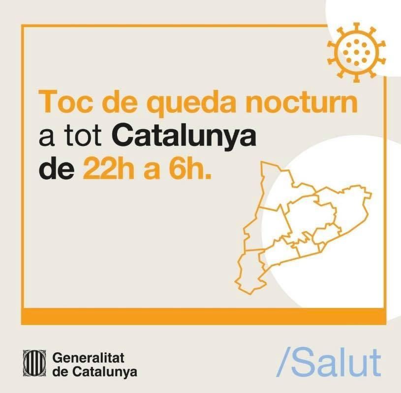 Toc de queda nocturn a tot Catalunya de 22h a 6h.