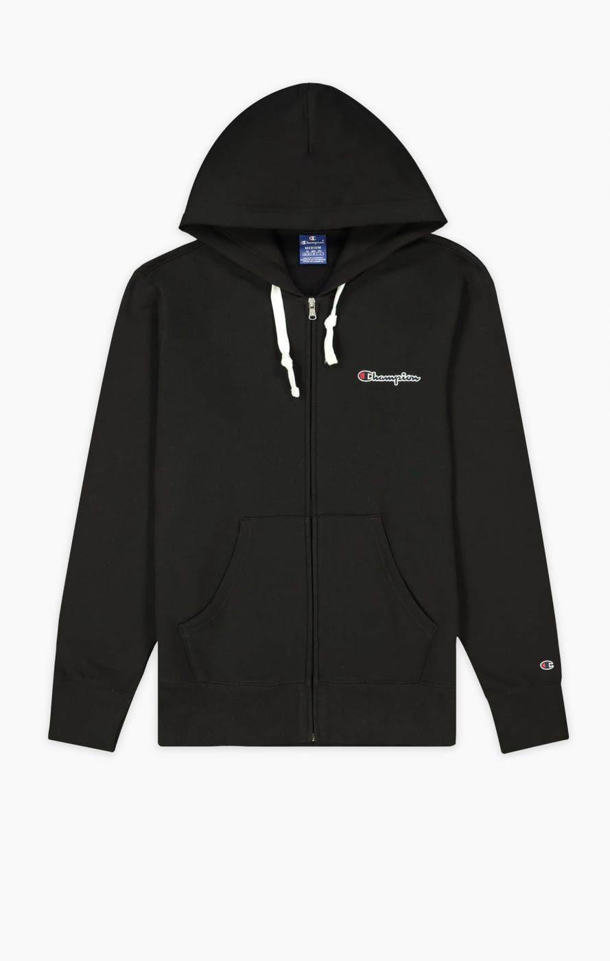 Hooded full zip sweatshirt negra