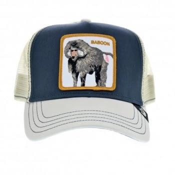 Gorra trucker gris y blanca babuino Buthead de Goorin Bros