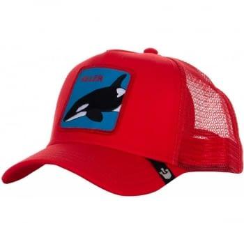 Gorra trucker roja orca Killer Whale de Goorin Bros